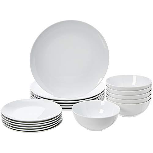 Amazon Basics - Vajilla de 18 piezas, Porcelana blanca lisa, 6 servicios