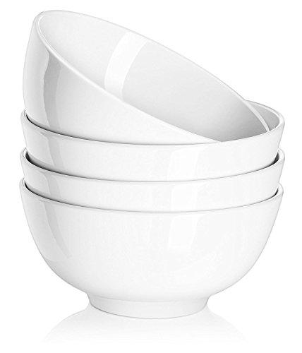 Dowan - Juego de 4 cuencos de porcelana para servir ensalada, rama y frutas, 600 ml, color blanco