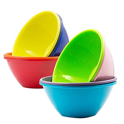 Youngever Cuencos de plástico de 32 onzas, cuencos de cereales grandes, cuencos de sopa grandes, aptos para microondas, apto para lavavajillas, juego de 9 en 9 colores surtidos