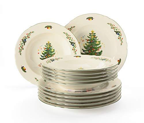 Seltmann Weiden servicio de cena 12 piezas | Set para 6 personas | Serie Marieluise marfil | servicio incluye cada 6 plato de cena, plato de sopa