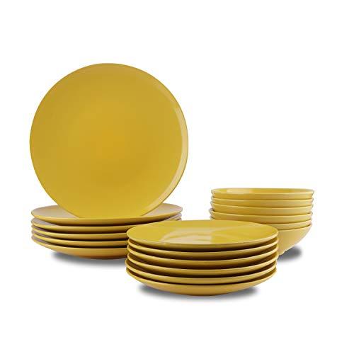 Amazon Basics - Vajilla de gres para 6 personas, color Amarillo, 18 piezas