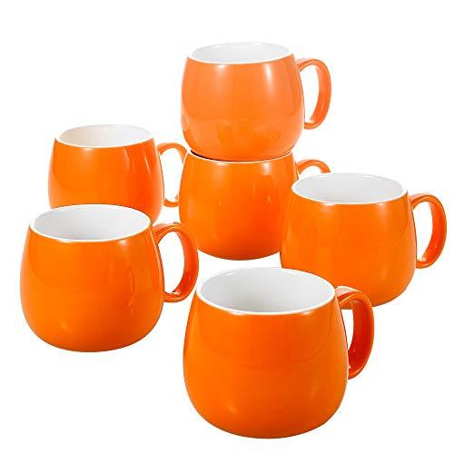 Panbado 6 x Tazas de Café / Té de Porcelana de Color Amarillo Juego de Tazas de Cerámica, 375 ml (13,5*10*8,5 cm), Vajilla de Agua / Leche para Hogar, Oficina, Fiesta, Regalo para Cumpleaños, Festival