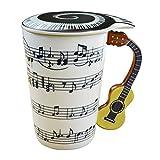 UMI. Essentials - Taza de cerámica con Motivos Musicales, asa 3D con Guitarra y Tapa, 400 ml