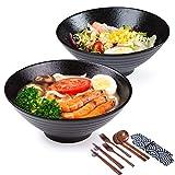 Grandes Cerámica Conjunto tazón de ramen , 2×1500ml 14 piezas Palillos y cucharas, Japonés Cuencos, Tradicional Hecho a mano