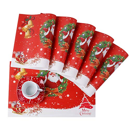 VEWEET 'Christmas' Santaclaus' Vajilla de Porcelana 60 Piezas | Plato para 12 Personas Vajillas Navideñas Decoracion Mesa, Fiesta | 12 Platos de Postre, Platillo/Tazas Plato Plano/Platos de Sopa