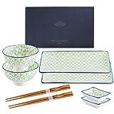vancasso Serie Midori Sushi Set, Vajillas de Sushi, para 2 Personas, con 2 Platos Rectangulares, 2 Pares Palillos, 2 Platos de Salsas 2Cuencos (8 pcs)