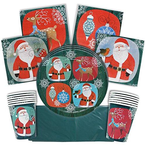 61 Piezas Vajilla Desechable para Fiestas de Navidad| Colores Festivos, Papá Noel y Renos| 15 Platos de Papel, 15 Vasos, 30 Servilletas, 1 Mantel Grande| Decoración Fiesta Navidad para Niños Adultos.