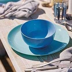 VAJILLA 19 P DIWALI LUMINARC color turquesa