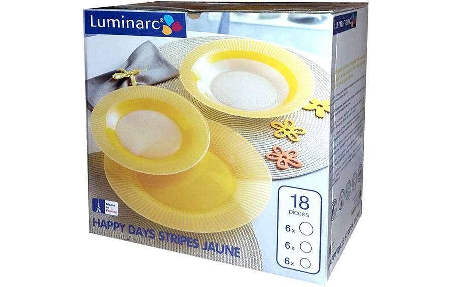 Vajilla de color amarillo de la marca Luminarc