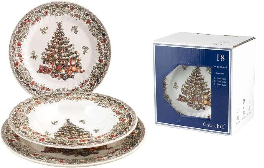 Platos de Navidad con árbol navideño decorado