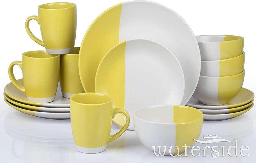 Vajilla Waterside amarilla y blanca