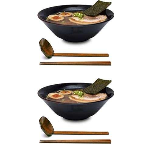 2 Juegos (6 Piezas) de 900 mililitros de Tazones Grandes para Sopa de Fideos de Ramen Japonés
