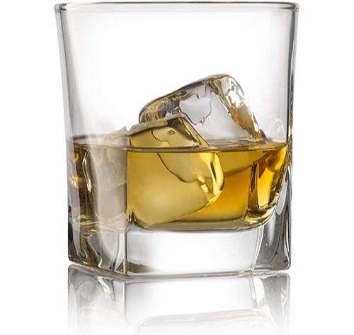Doble Old Fashioned Whisky vasos de cristal (Juego de 4) con Chilling Piedras