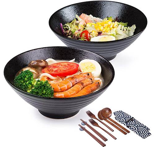 Conjunto tazón de ramen , 2×1500ml 14 piezas Palillos y cucharas, Japonés Cuencos, Tradicional Hecho a mano