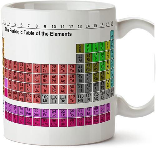 Taza de desayuno original con la tabla periódica